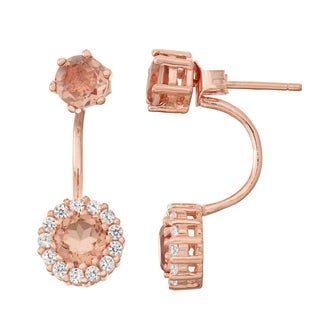 Gioelli Rose Goldplated Morganite Quartz and White Sapphire Front to Back Earrings