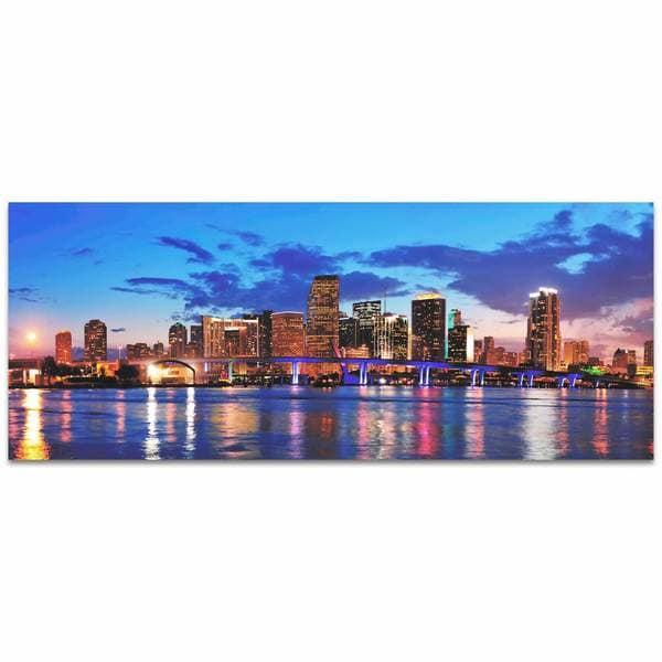 Modern Crowd 'Miami City Skyline' Urban Cityscape Enhanced Photo Print on Metal or Acrylic 17977554