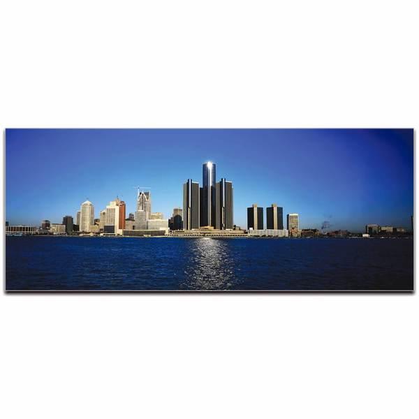 Modern Crowd 'Detroit City Skyline' Urban Cityscape Enhanced Photo Print on Metal or Acrylic 17977577