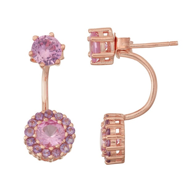 Gioelli Rose Goldplated Pink Sapphire and Amethyst Front to Back Earrings
