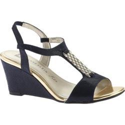 Women's Anne Klein Emanie Wedge Sandal Navy Synthetic