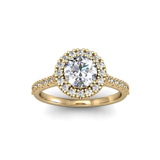 14k Yellow Gold 1 1/4ct TDW Perfect Halo Diamond Engagement Ring (H-I, I1-I2)