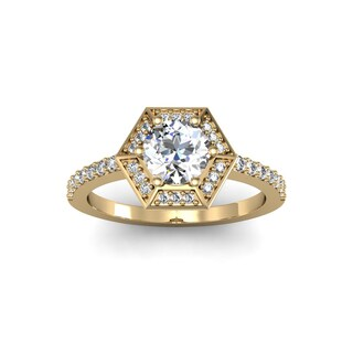 14k Yellow Gold 1 1/10ct TDW Designer Engagement Ring Including 3/4ct Round Brilliant Center Diamond (H-I, I1-I2)
