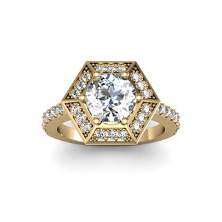 14k Yellow Gold 2 1/2ct Designer Engagement Ring Including 2ct Round Brilliant Center Diamond (H-I, I1-I2)