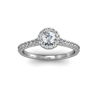 14 Karat White Gold 1/2ct Perfect Halo Diamond Engagement Ring (H-I, I1-I2)