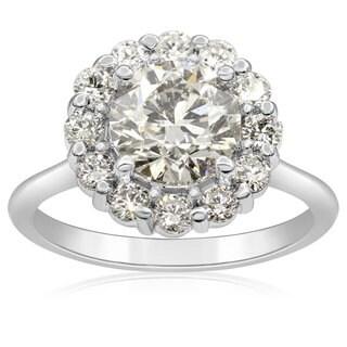 14k White Gold 2ct TDW Elegant Diamond Halo Engagement Ring (H-I, I1-I2)
