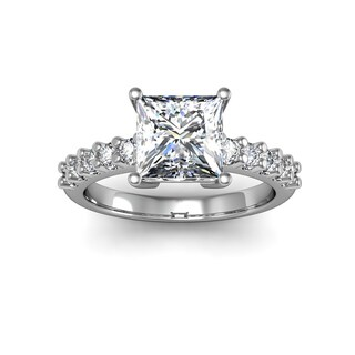 14k White Gold 1 7/8ct TDW Traditional Diamond Engagement Ring with 1 1/2ct Princess-cut Center Stone (H-I, I1-I2)