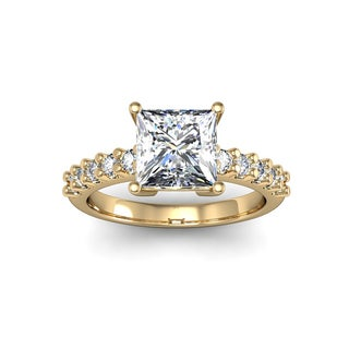 14k Yellow Gold 1 7/8ct TDW Traditional Diamond Engagement Ring with 1 1/2ct Princess-cut Center Stone (H-I, I1-I2)