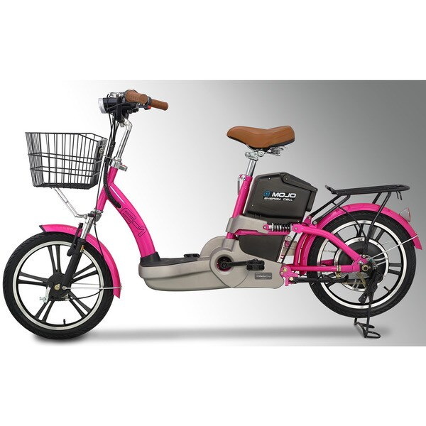 Emojo E1 Electric Bicycle in Lava Pink with Extended Range Lithuim Battery, Deluxe Trim and Basket Package 17979630