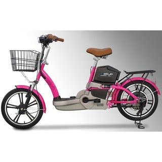 Emojo E1 Electric Bicycle in Lava Pink with Extended Range Lithuim Battery, Deluxe Trim and Basket Package