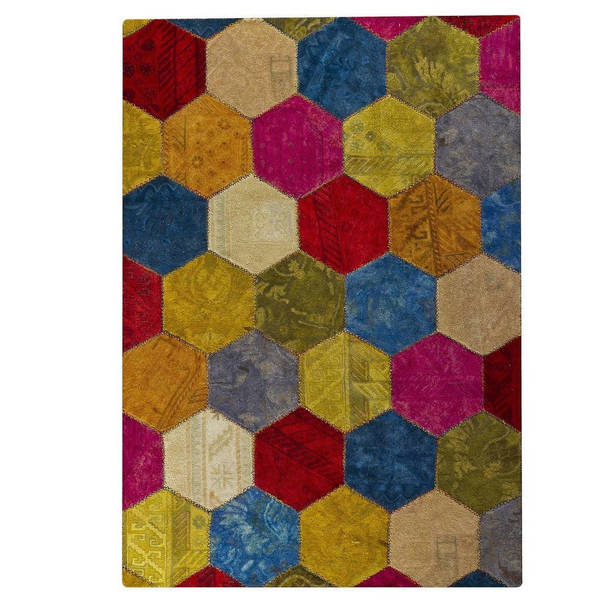 M.A. Trading Hand-tufted Honey Comb Multi Rug (5'2 x7'6) 17979811