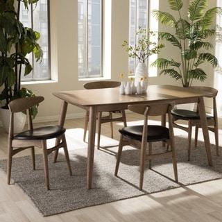 Baxton Studio Edna Mid-century Modern 5-piece French Oak Finishing Dining Set