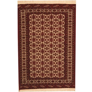 Herat Oriental Afghan Hand-knotted Turkoman Ivory/ Red Wool Rug (4' x 5'10)