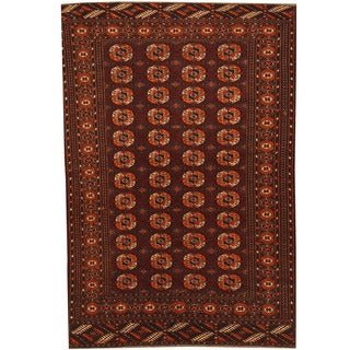Herat Oriental Afghan Hand-knotted 1940s Semi-antique Turkoman Burgundy/ Gold Wool Rug (4'2 x 6'1)