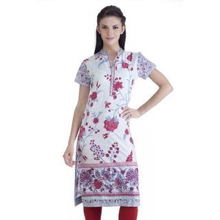 Women's Cotton Ethnic Floral Printed Tunic with Mandarin Collar (India)