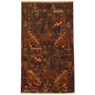 Herat Oriental Afghan Hand-knotted 1960s Semi-antique Tribal Balouchi Navy/ Red Wool Rug (4' x 6'9)