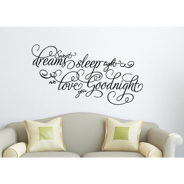 Beautiful quote Sweet Dreams Sleep Tight Wall Art Sticker Decal