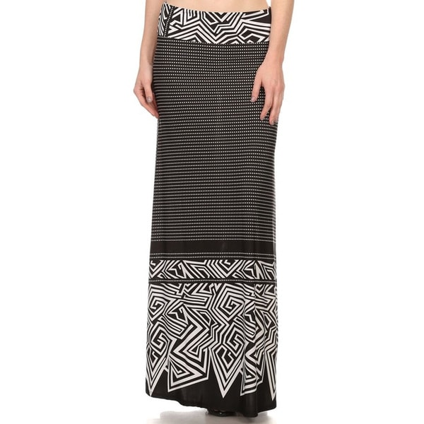 MOA Collection Border Print Maxi Skirt