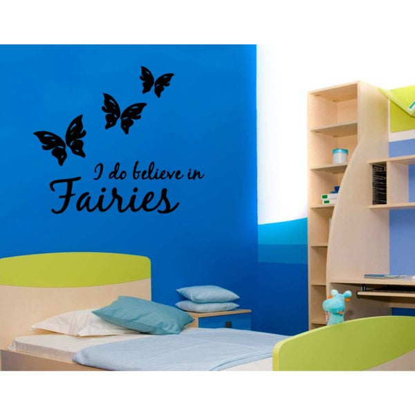 Butterflies I Believe in Fairies quote Wall Art Sticker Decal