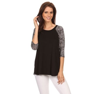 MOA Collection Women's Animal Sleeve Top
