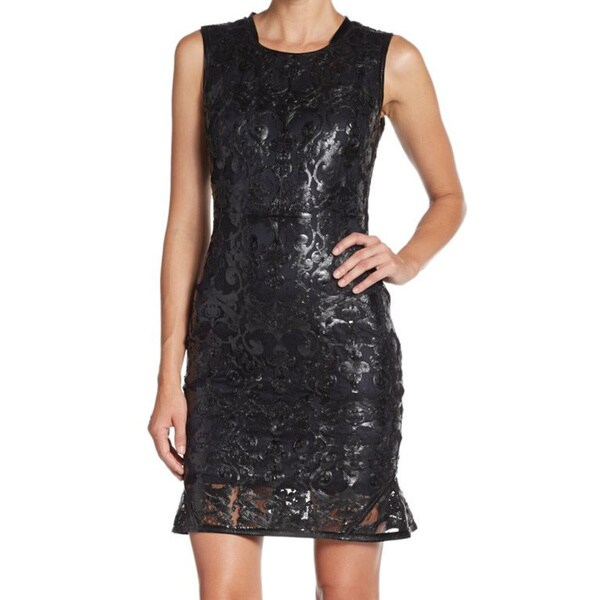 Elie Tahari Women's 'Sierra' Leather Lace Dress -  Fashion Habits LLC, ETSIERRA