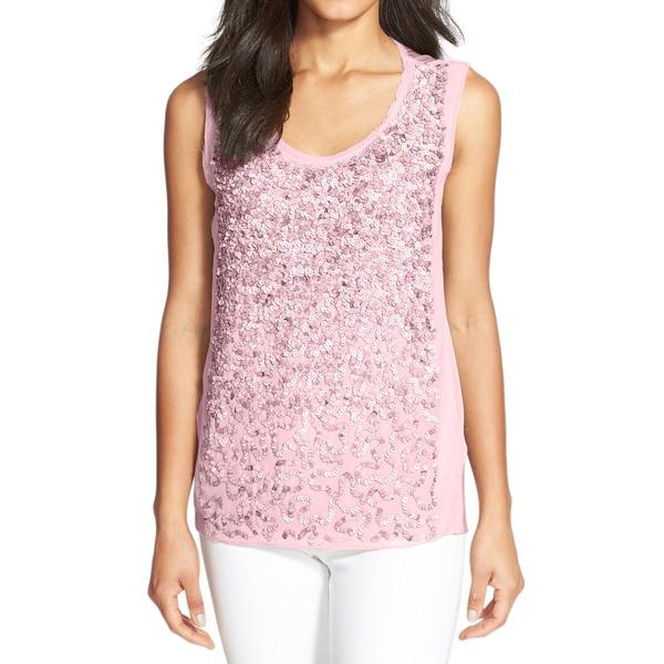 Elie Tahari Faben Pink Sequin Blouse