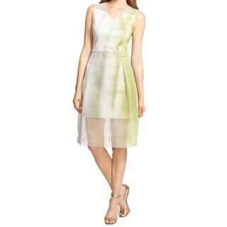Elie Tahari Ally Green Mesh Overlay Dress