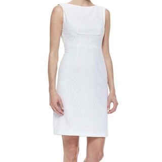 T Tahari Myra White Eyelet Dress