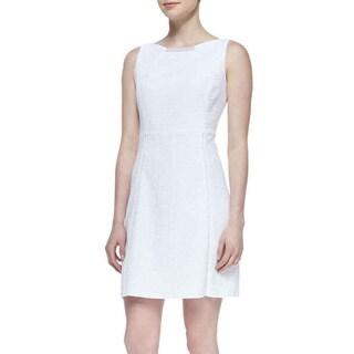 T Tahari Maylin White Basket Weave Dress