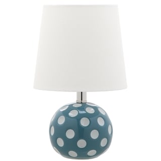 Safavieh Kids Lighting 14.5-inch Polka dot Blue / White Mini Table Lamp