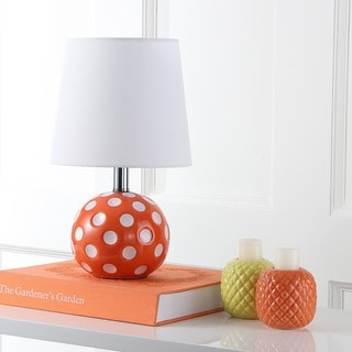 Safavieh Kids Lighting 14.5-inch Polka dot Orange / White Mini Table Lamp