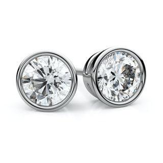 Platinum 3/4ct TDW Bezel Round Diamond Stud Earrings (F-G, VS1-VS2)