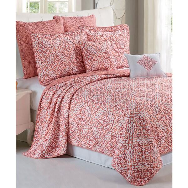 Serenta Revington Printed Microfiber 7-piece Bedspread Quilt Set