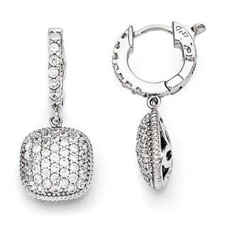 Sterling Silver Cubic Zirconia Hoop Square Pendant Earrings