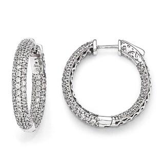 Sterling Silver Pave Cubic Zirconia Hoop Earrings