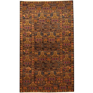 Herat Oriental Afghan Hand-knotted 1960s Semi-antique Tribal Balouchi Navy/ Gold Wool Rug (3'8 x 6'3)
