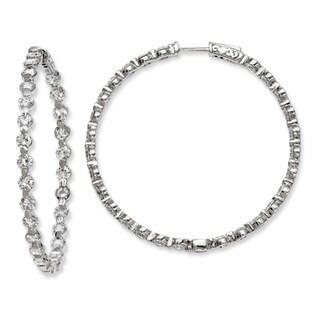 Sterling Silver Cubic Zirconia 54-stones Round Hoop Earrings