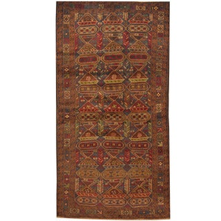 Herat Oriental Afghan Hand-knotted 1960s Semi-antique Tribal Balouchi Navy/ Red Wool Rug (3'6 x 6'10)