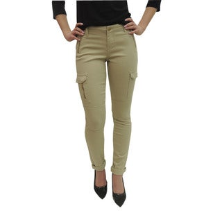 Women's Khaki Skinny Cargo Zipper Pants