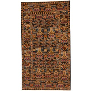 Herat Oriental Afghan Hand-knotted 1960s Semi-antique Tribal Balouchi Navy/ Gold Wool Rug (3'9 x 6'9)