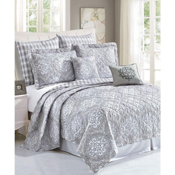 Serenta Melody Printed Microfiber 7-Piece Bedspread Quilt Set