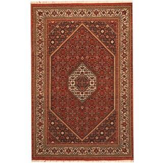 Herat Oriental Persian Hand-knotted Tribal Bidjar Red/ Ivory Wool Rug (4'3 x 6'5)