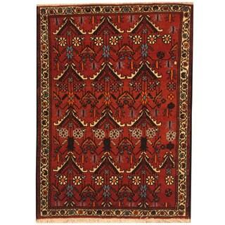 Herat Oriental Persian Hand-knotted Tribal Hamadan Rust/ Ivory Wool Rug (3'9 x 4'9)