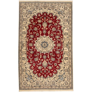 Herat Oriental Persian Hand-knotted Nain Red/ Ivory Wool & Silk Rug (4'4 x 7')