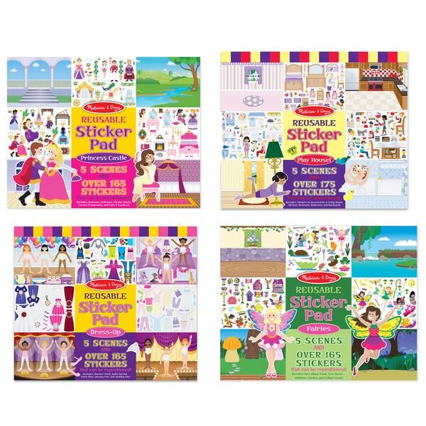 Melissa & Doug Reusable Sticker Pad Bundle Fairy, Princess, Dress-Up, and Play House