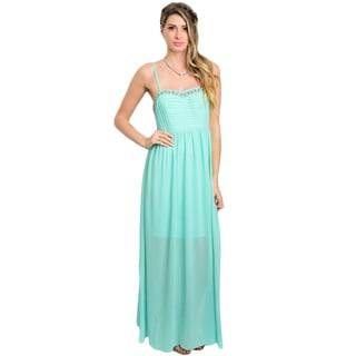 Shop the Trends Women's Spaghetti Strap Gown with Semi-Sweetheart Embellished Neckline