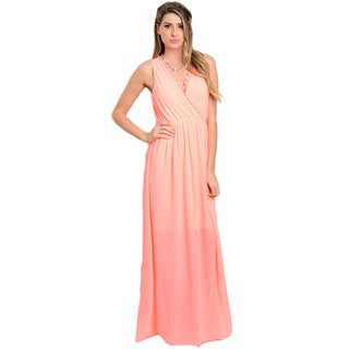 Shop the Trends Women's Sleeveless Maxi Dress with Empire Waist and Wrapped Bodice