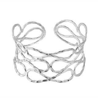 Contemporary Hammered Link Tribal Solid Silver Cuff (Thailand)