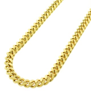 Yellow Gold over Silver 7mm Solid Miami Cuban Curb Link Chain
