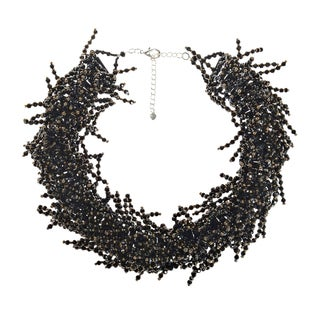 Black Crystal Beaded Fringe Statement Collar Necklace (Thailand)
